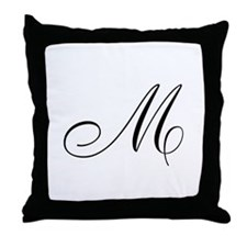 M Initial Throw Pillow