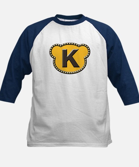 Bear Head Initial K Kids Baseball Jersey