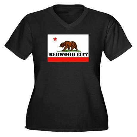 Redwood City,Ca -- T-Shirt Women's Plus Size V-Nec
