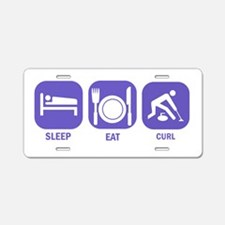 Sleep Eat Curl Aluminum License Plate