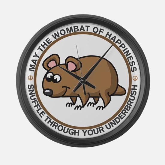 Wombat Of Happiness Large Wall Clock