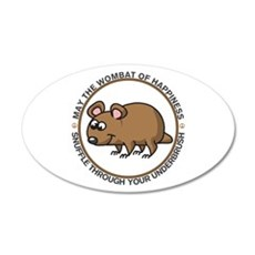 Wombat Of Happiness 22x14 Oval Wall Peel