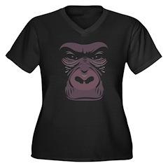 Gorilla Black Women's Plus Size V-Neck Dark T-Shir