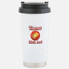 Vintage Tacos Kick Ass Stainless Steel Travel Mug