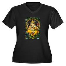 Unique Ganesh Women's Plus Size V-Neck Dark T-Shirt