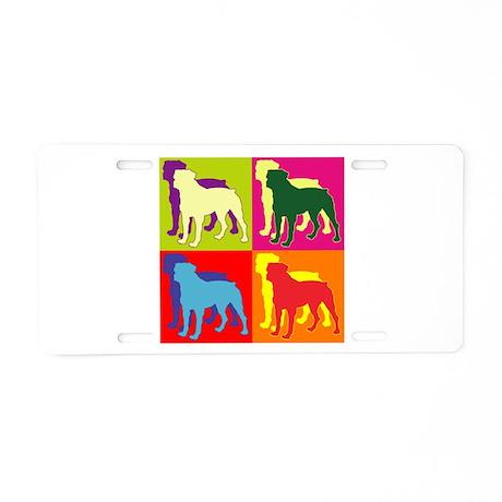 Rottweiler Silhouette Pop Art Aluminum License Pla