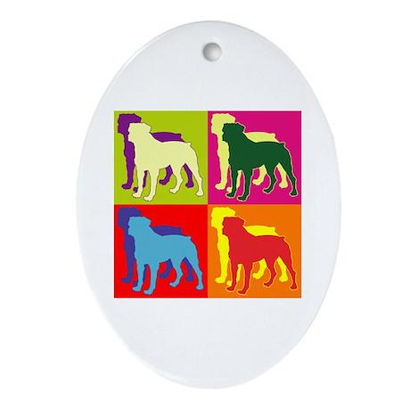 Rottweiler Silhouette Pop Art Ornament (Oval)