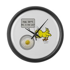 Chicken Fried Egg Humor Large Wall Clock
