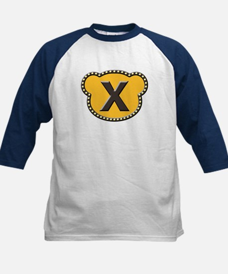 Bear Head Initial X Kids Baseball Jersey