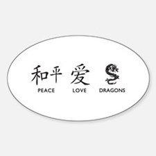 Peace, Love, Dragons Sticker (Oval)