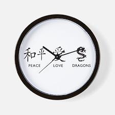 Peace, Love, Dragons Wall Clock