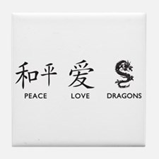 Peace, Love, Dragons Tile Coaster