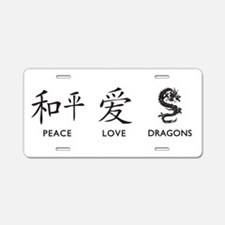 Peace, Love, Dragons Aluminum License Plate
