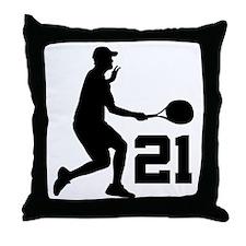 Tennis Uniform Number 21 Player Throw Pillow