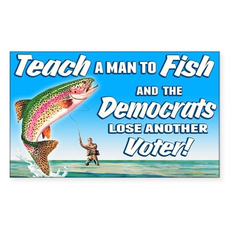 Teach a Man to Fish Sticker (Rectangle)