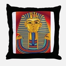 Tut Mask on Red Throw Pillow