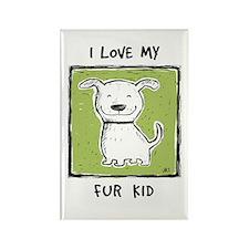 I Love My Fur Kid (green) Rectangle Magnet 100 pk
