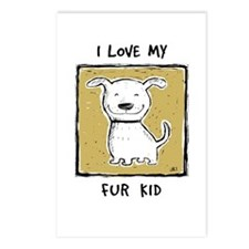 """I Love My Fur Kid"" (green) Postcards (Pkg of 8)"