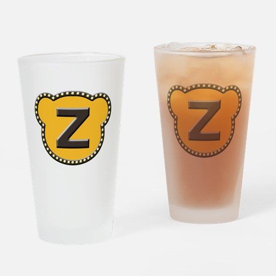 Bear Head Initial Z Drinking Glass