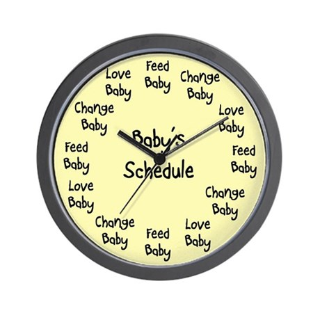 Baby's Schedule Wall Clock Yellow Background