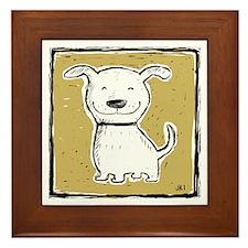 Cute Dog (green) Framed Tile