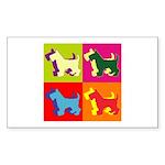 Scottish Terrier Silhouette Pop Art Sticker (Recta