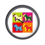 Scottish Terrier Silhouette Pop Art Wall Clock