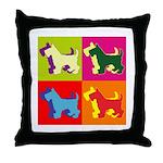 Scottish Terrier Silhouette Pop Art Throw Pillow