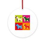 Scottish Terrier Silhouette Pop Art Ornament (Roun