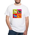 Scottish Terrier Silhouette Pop Art White T-Shirt