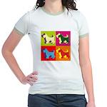 Scottish Terrier Silhouette Pop Art Jr. Ringer T-S