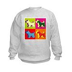 Scottish Terrier Silhouette Pop Art Kids Sweatshir