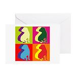 Shar Pei Silhouette Pop Art Greeting Cards (Pk of