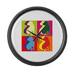 Shar Pei Silhouette Pop Art Large Wall Clock