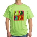 Shar Pei Silhouette Pop Art Green T-Shirt