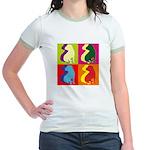 Shar Pei Silhouette Pop Art Jr. Ringer T-Shirt