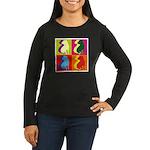 Shar Pei Silhouette Pop Art Women's Long Sleeve Da