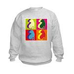 Shar Pei Silhouette Pop Art Kids Sweatshirt