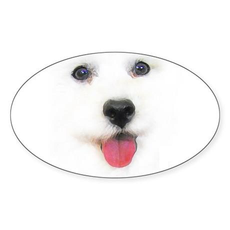 Bichon face Oval Sticker