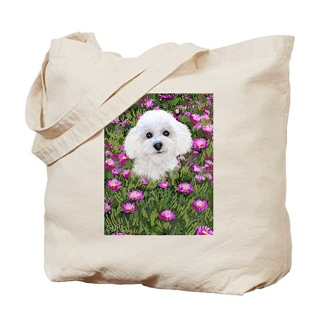 Bichon in Flowers Tote Bag