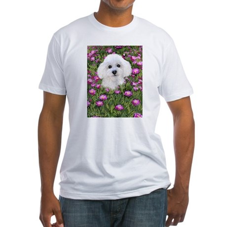 Bichon in Flowers Fitted T-Shirt