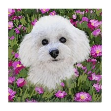 Bichon in Flowers Tile Coaster