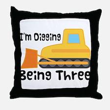 Personalized 3rd Birthday Bulldozer Throw Pillow