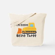Personalized 3rd Birthday Bulldozer Tote Bag