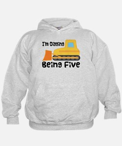 Personalized 5th Birthday Bulldozer Hoodie