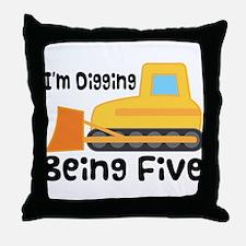Personalized 5th Birthday Bulldozer Throw Pillow