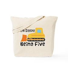 Personalized 5th Birthday Bulldozer Tote Bag
