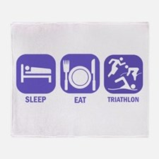 Sleep Eat Traithlon Throw Blanket