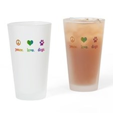 Cute Peace love dogs Drinking Glass