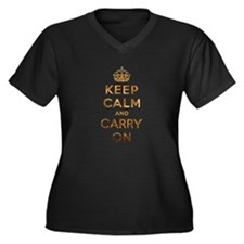 Keep Calm And Carry On Women's Plus Size V-Neck Da